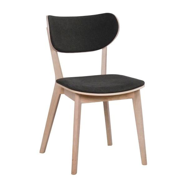 Světle hnědá dubová jídelní židle s tmavě šedým sedákem Rowico Cato