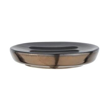 Săpunieră ceramică Wenko Polaris, gri mat - auriu imagine