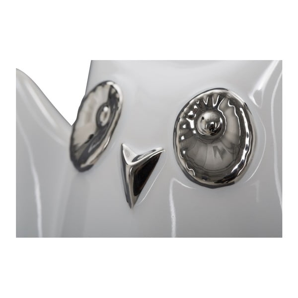 Bílá keramická dekorativní soška Mauro Ferretti Gufo Funny Owl, výška 10,5 cm