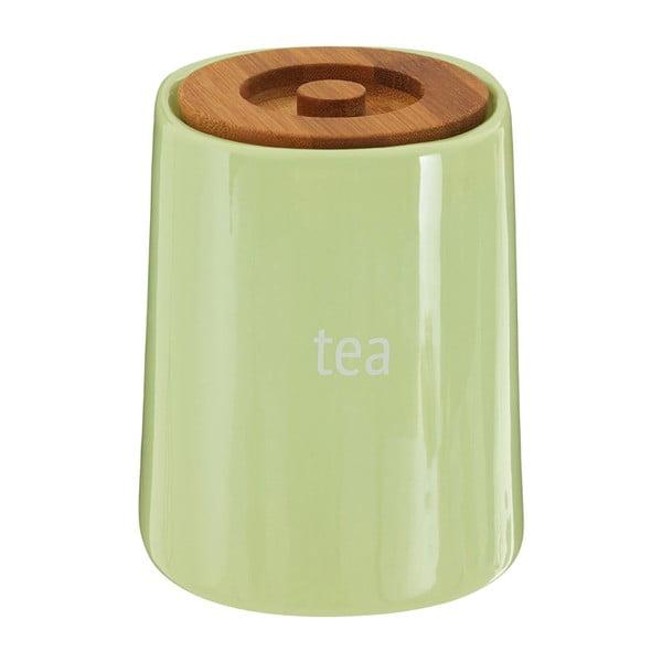 Zelená dóza na čaj s bambusovým víkem Premier Housewares Fletcher, 800 ml