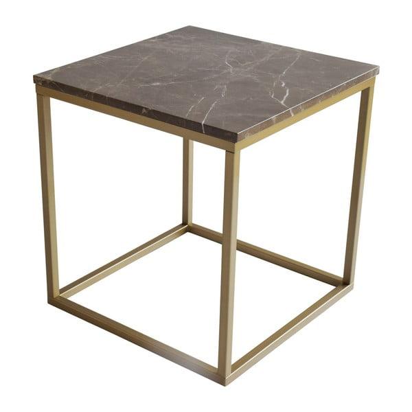 Konferenční stolek s podnožím ve zlaté barvě a hnědou mramorovou deskou RGE Accent, šířka50cm