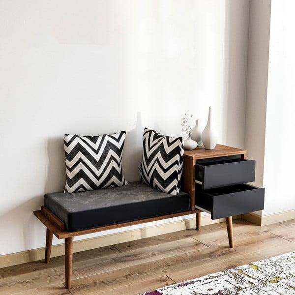 Lavice s úložným prostorem v dekoru ořechového dřeva Fiume