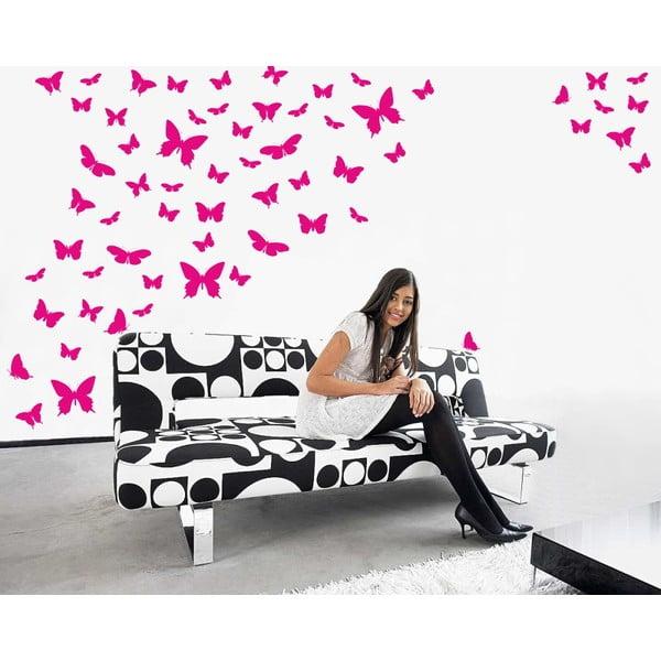 Samolepka na stěnu Wallvinil Motýlí ráj, růžová