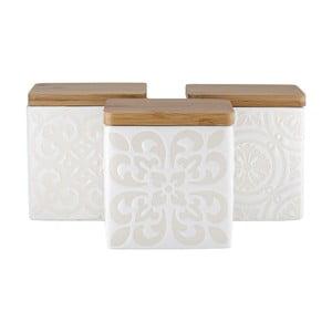 Set 3 cutii alimente, cu capac de bambus, Ladelle Coventry