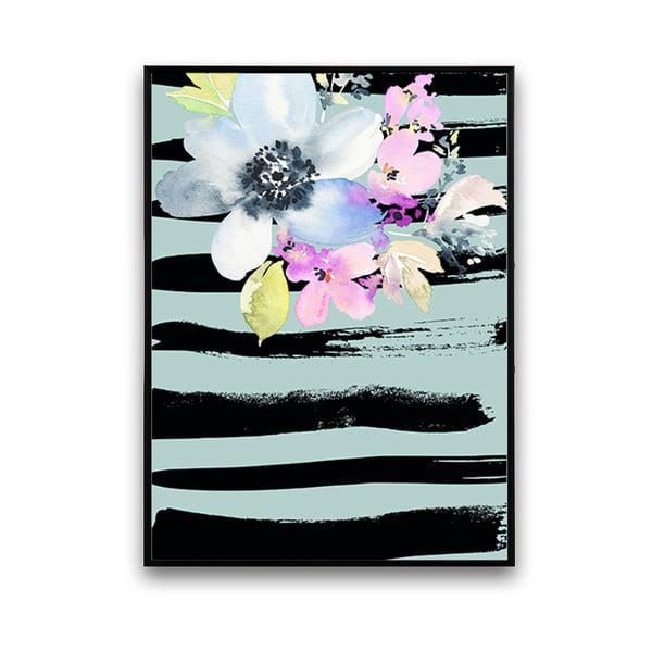 Plakát s květinami, modro-černé pozadí, 30 x 40 cm
