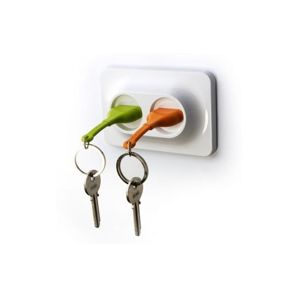 Nástěnný držák s klíčenkami QUALY Double Unplug, zelená-oranžová