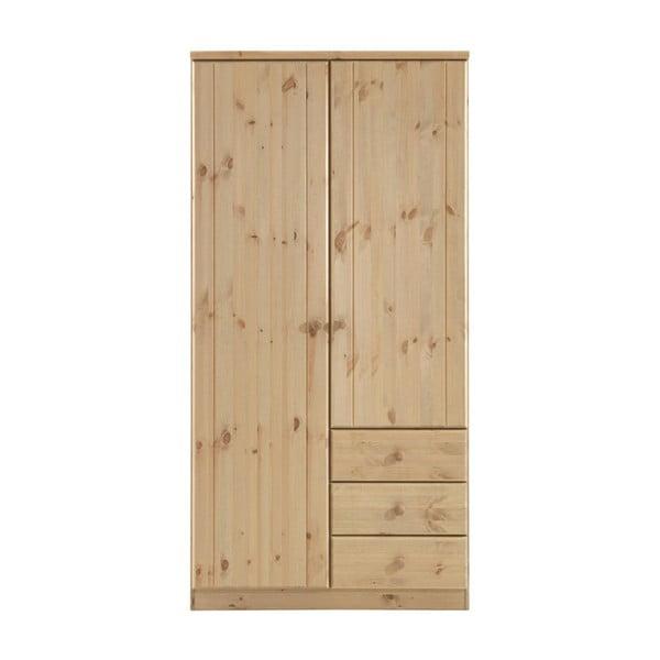 Svetlohnedá šatníková skriňa z borovicového dreva Steens Ribe, 202 × 100,8 cm