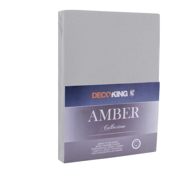 Ocelově šedé elastické bavlněné prostěradlo DecoKing Amber Collection, 180-200 x 200 cm