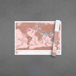 Seškrabávací mapa světa v barvě rose gold Luckies of London Millenial