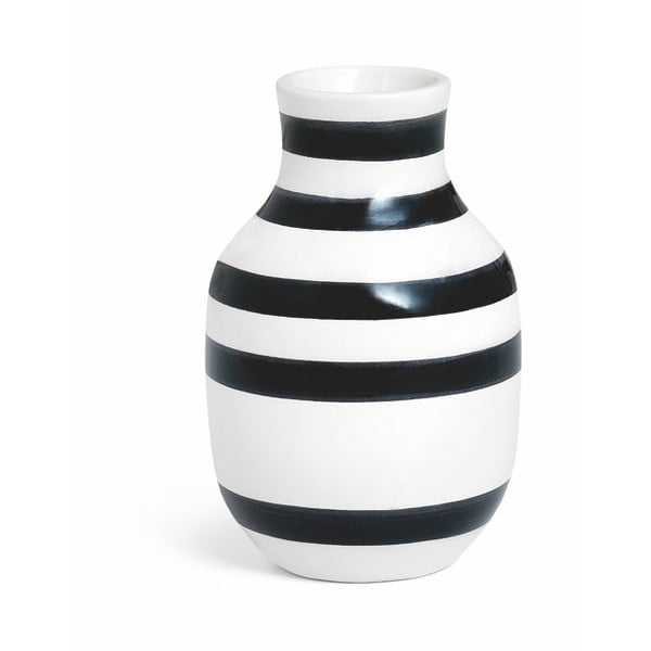 Čierno-biela kameninová váza Kähler Design Omaggio, výška 12,5 cm