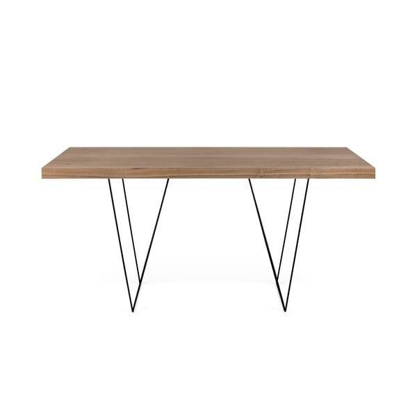 Hnědý stůl s černými nohami TemaHome Multi, 180 x 77 cm
