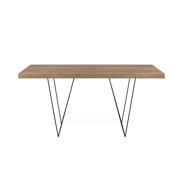 Multi barna asztal fekete lábakkal, 180 x 77 cm - TemaHome