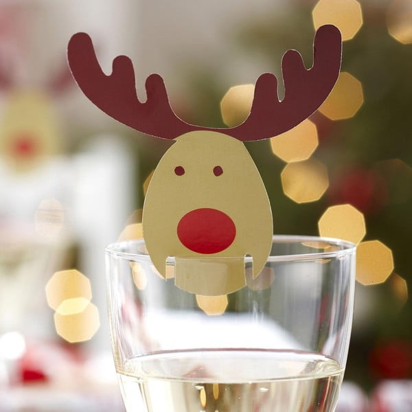 Sada 10 ozdob na skleničky Neviti Rocking Rudolf
