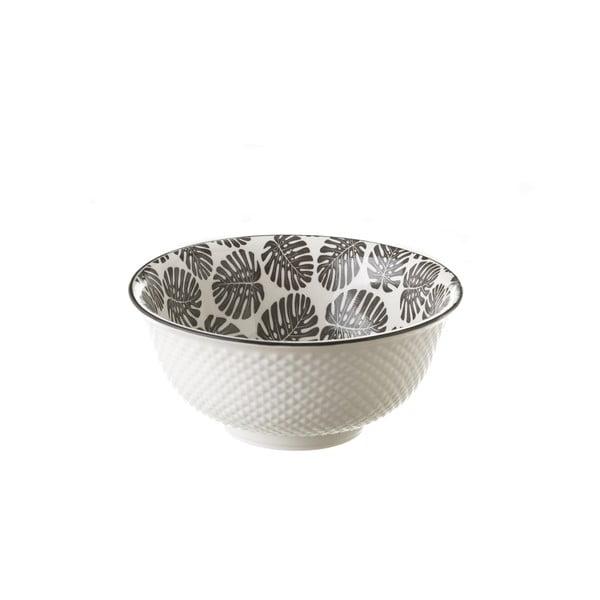Monstera szürke-fehér porcelán tál, Ø 16,3 cm - Unimasa