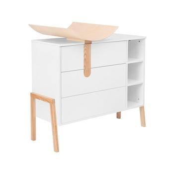 Comodă cu masă pentru schimbat KICOTI Space, alb de la KICOTI