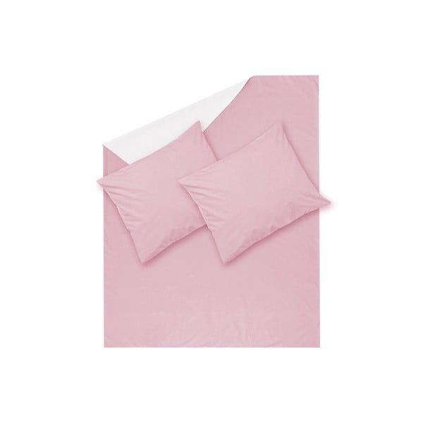 Růžové povlečení Hawke&Thorn Parker Simple,240x220cm +2xpolštář 50 x 60cm