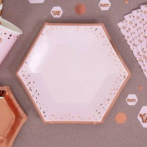 Sada 8 růžových tácků Neviti Glitz & Glamour Stars, ⌀20cm