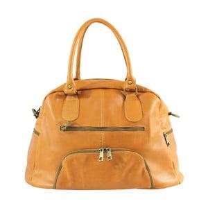Hořčicová kožená kabelka Chicca Borse Jenny