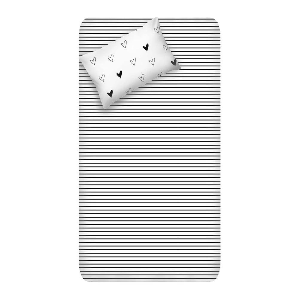 Set neelastického prostěradla a povlaku na polštář EnLora Home Eveline White, 160 x 240 cm
