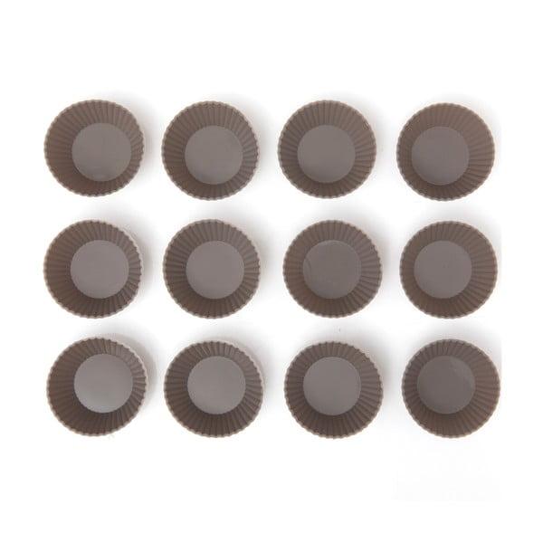 Set 12 forme din silicon pentru brioșe Mini Grey Cupcakes