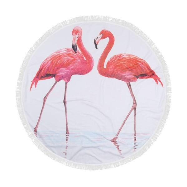 Kolorowy ręcznik plażowy ze 100% bawełny Flamingos, ⌀ 150 cm