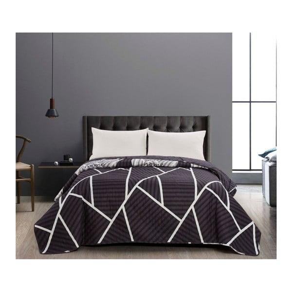 Catmint fekete kétoldalas mikroszálas ágytakaró, 170 x 210 cm - DecoKing