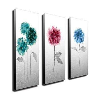 Tablou pe pânză din 3 piese Flowers de la Unknown