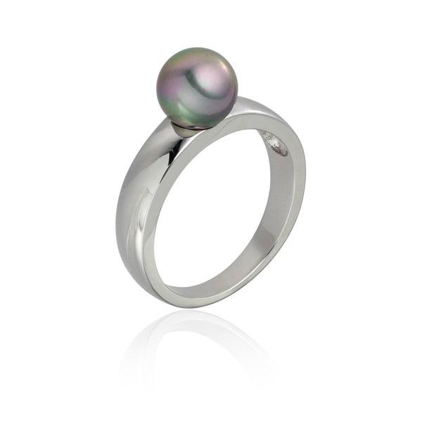Perlový prsten Jeanne Silver/Grey, vel. 60