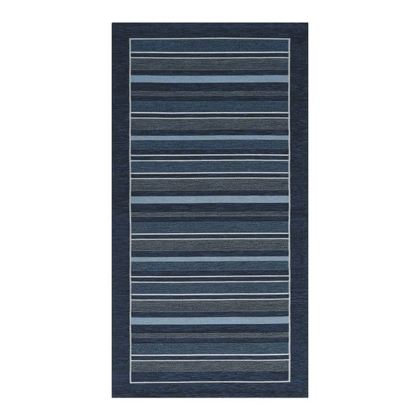 Tmavě modrý běhoun Floorita Velour, 55 x 280 cm