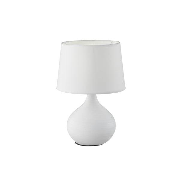 Bílá stolní lampa z keramiky a tkaniny Trio Martin, výška 29 cm