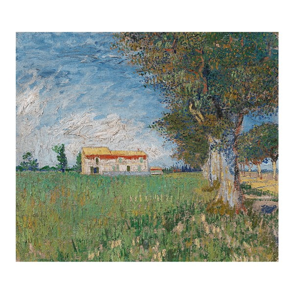 Obraz Vincenta van Gogha - Farmhouse in a Wheatfield, 60x70 cm