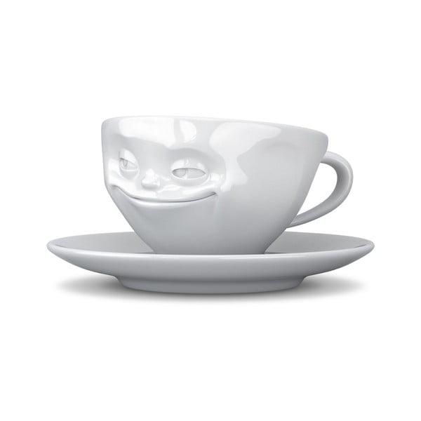 Biała porcelanowa uśmiechnięta filiżanka 58products, 200 ml