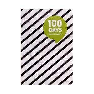 Plánovač Languo 100 Days Black/White proužky