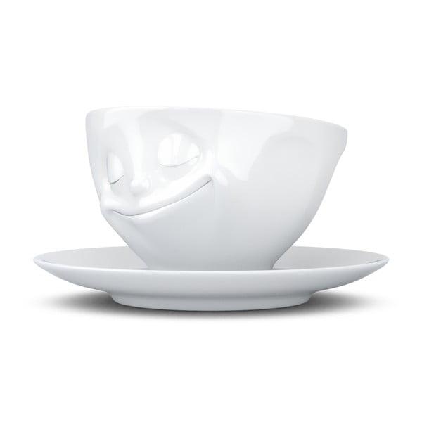 Ceașcă pentru cafea, din porțelan, 58products Happy, alb, 200 ml