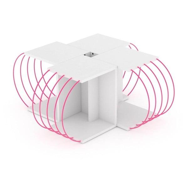 4-częściowy stolik modułowy z różowymi elementami Frederick