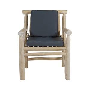 Křeslo z teakového dřeva s šedým sedákem Santiago Pons Capri