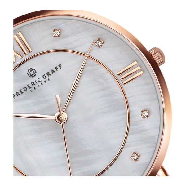 Dámské hodinky s páskem z nerezové oceli ve stříbrné a zlatorůžové barvě Frederic Graff Liskamm