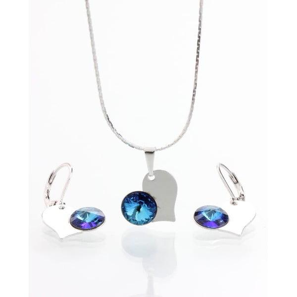 Set náhrdelníku a náušnic se Swarovski krystaly Yasmine Blue Heart