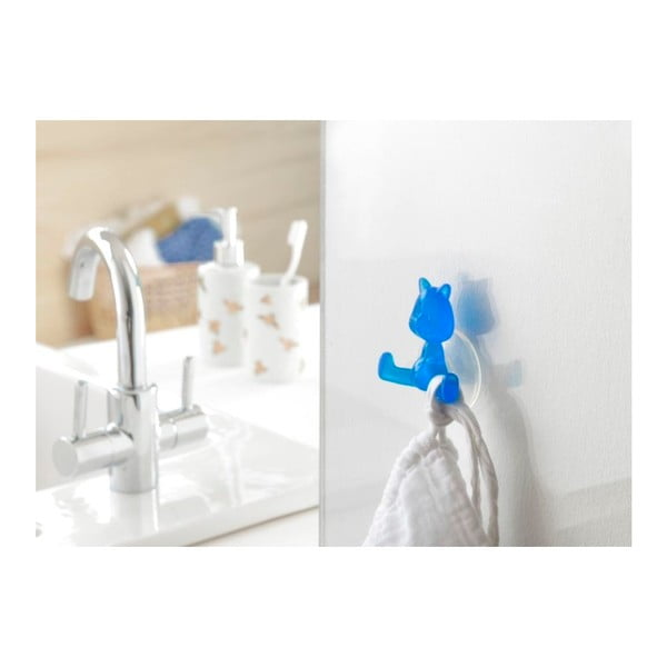 Modrý přísavný háček ve tvaru kočičky Compactor