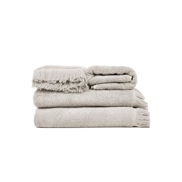 Set 2 světle šedých bavlněných osušek a 2 ručníků Casa Di Bassi