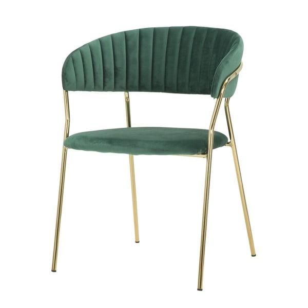 Szmaragdowo-zielone krzesło z konstrukcją w złotym kolorze Mauro Ferretti Poltrona