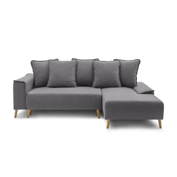 Ciemnoszara rozkładana sofa Bobochic Paris Gaia, prawostronna