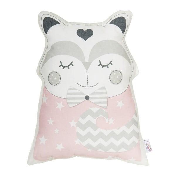 Pernă din amestec de bumbac pentru copii Apolena Pillow Toy Smart Cat, 23 x 33 cm, roz