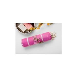 Růžovobílá hammam osuška Begonville Sabba Pink, 100x180cm