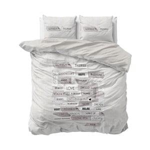 Šedé povlečení z mikroperkálu na dvoulůžko Sleeptime Lovely Things,160x200cm