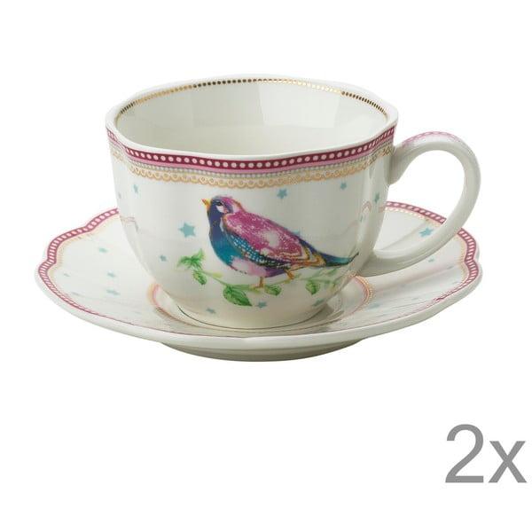 Porcelánový šálek s podšálkem Birdie od Lisbeth Dahl, 2 ks