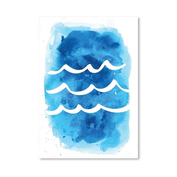 Plakát Watercolor Blue Waves