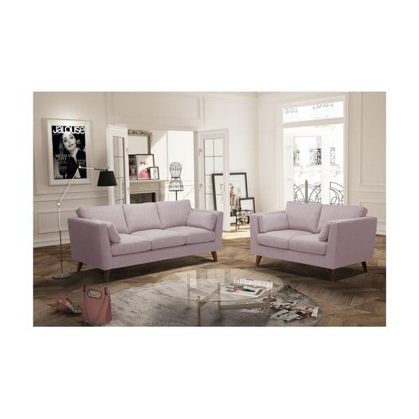 Sada pudrově růžové dvoumístné a trojmístné pohovky Jalouse Maison Elisa