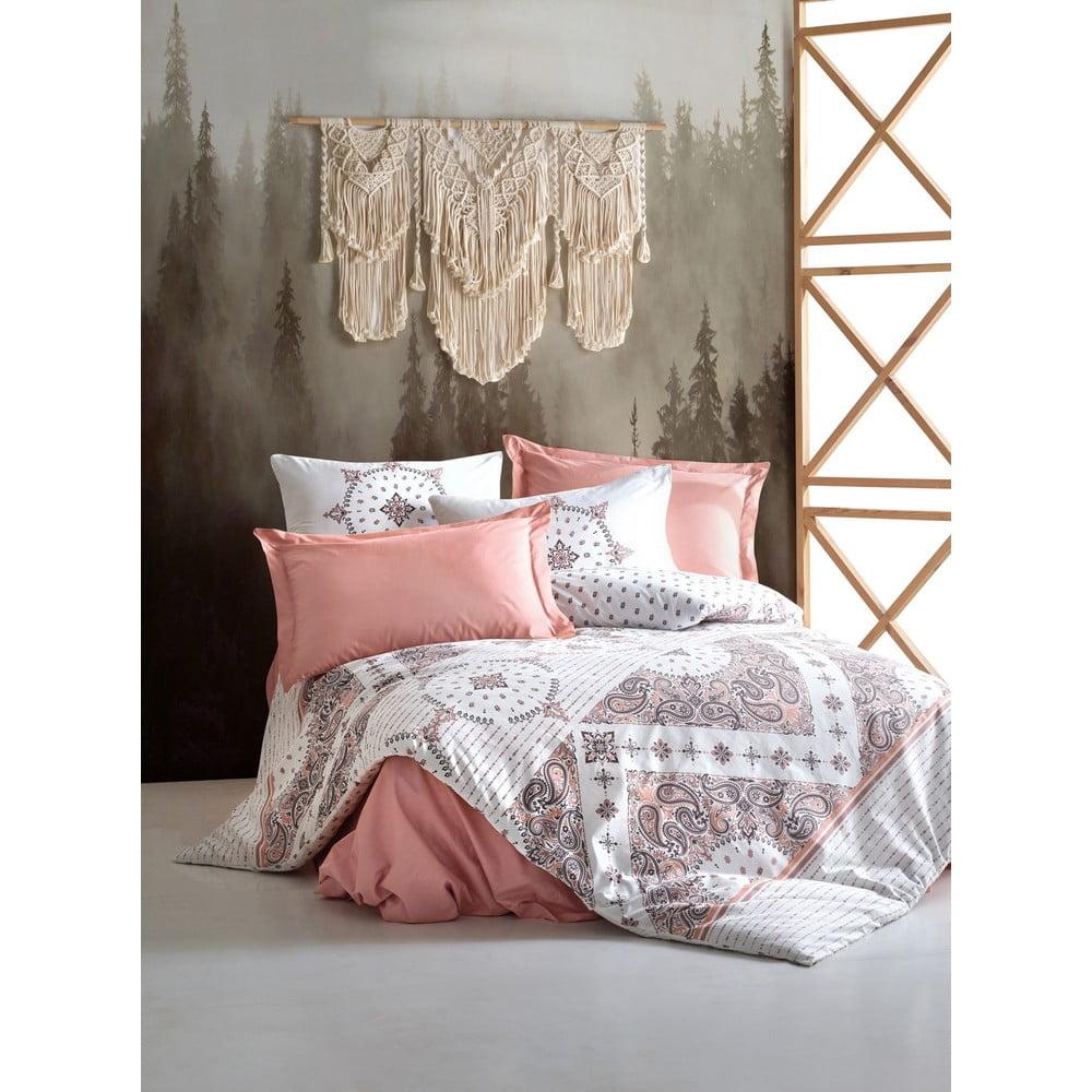 Bavlněné povlečení s prostěradlem na jednolůžko Cotton Box Riva Brown, 160 x 220 cm