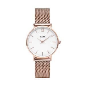Ceas damă cu curea din oţel inoxidabil Clus Minuit, roz - auriu